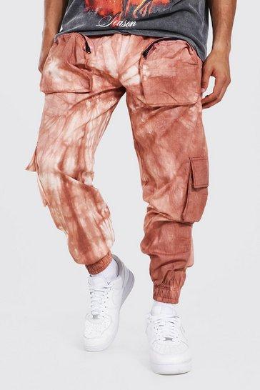 Ecru white Loose Fit Pocket Tie Dye Twill Cargo Trouser