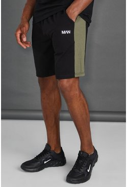 Black Man Active Fitness Shorts Met Zijpaneel