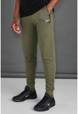 Khaki MAN Active Skinny Joggers With Zip Pockets