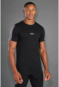 Black MAN Active T-Shirt With Sleeve Panel