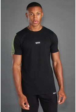 MAN Active T-Shirt With Sleeve Panel, Black nero