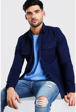Navy Long Sleeve Muscle Fit Shirt Jacket