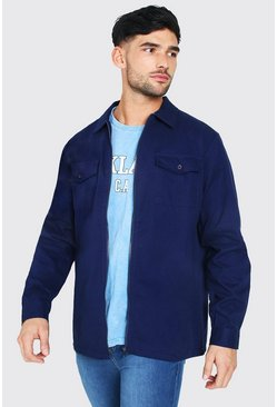 Navy Long Sleeve Twill Zip Overshirt