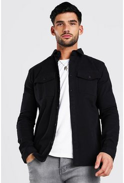 Black Long Sleeve Muscle Fit Overshirt