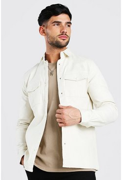 Ecru Long Sleeve Muscle Fit Overshirt