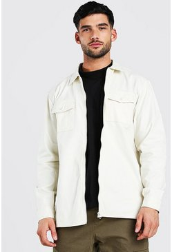 Ecru Long Sleeve Twill Zip Overshirt