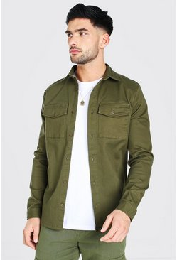 Khaki Long Sleeve Muscle Fit Twill Overshirt