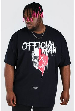Black Plus Size Spliced Skull T-Shirt