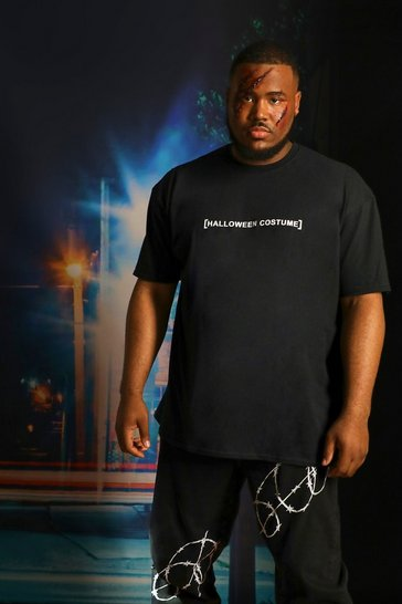 Black Plus Size Halloween Costume Text T-Shirt