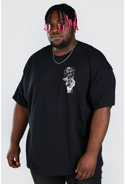 Black Plus Size Halloween Skeleton Rose T-Shirt