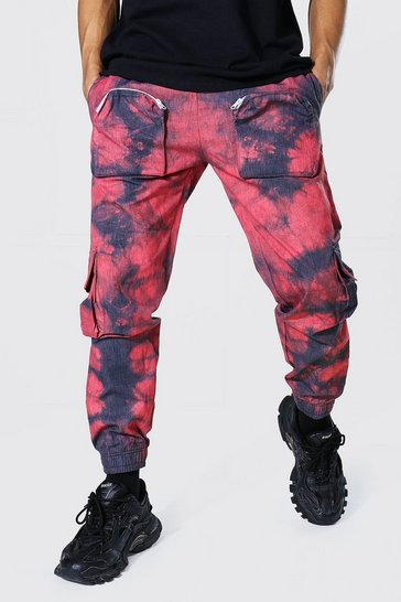 Red Loose Fit Pocket Tie Dye Twill Cargo Trouser