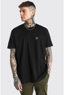 Black Oversized Diamond Embroidery T-Shirt