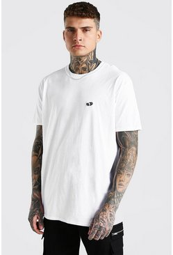 White Oversized Dollar Embroidery T-Shirt