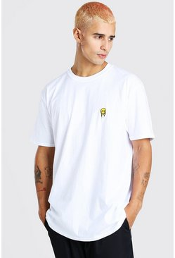 White Oversized Drip Face Embroidery T-Shirt