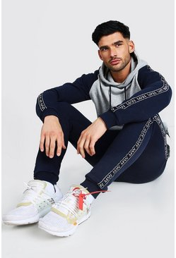 Navy Colour Block Hooded Man Tape Tracksuit