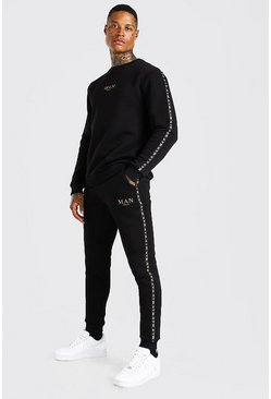 Black MAN Gold Sweater Tracksuit With Tape