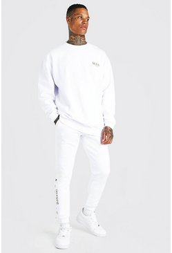 White Oversized MAN Gold Back Print Sweater Tracksuit