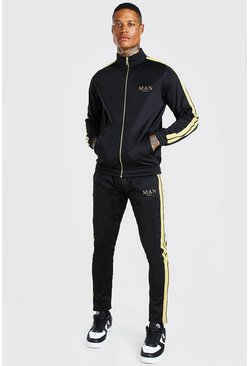 Black MAN Gold Funnel Neck Tracksuit With Metallic Tape