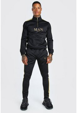 Black MAN Gold Half Zip Tracksuit With Metallic Tape