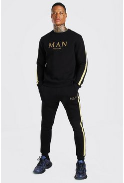 Black MAN Gold Print Sweater Tracksuit With Tape