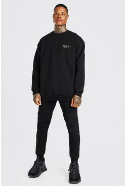 Black Oversized MAN Gold Back Print Sweater Tracksuit