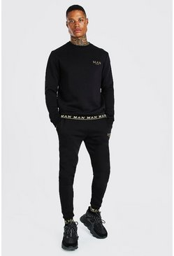 Black MAN Gold Rib Sweater Tracksuit