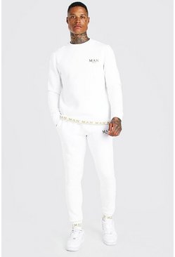 White MAN Gold Rib Sweater Tracksuit