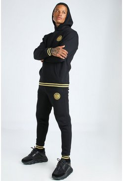 Black MAN Gold Graphic Printed Hooded Tracksuit