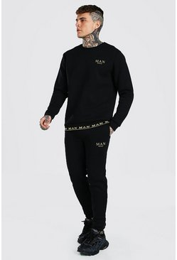 Black MAN Gold Printed Rib Sweater Tracksuit