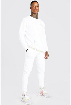 White MAN Gold Printed Rib Sweater Tracksuit
