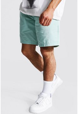 Sage green Elastic Waist Relaxed Fit Chino Short