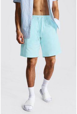 Light blue blue Elastic Waist Relaxed Fit Chino Short