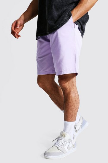 Lilac purple Elastic Waist Relaxed Fit Chino Short