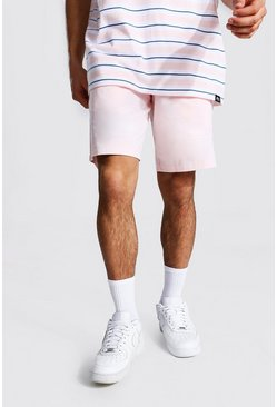 Light pink pink Elastic Waist Relaxed Fit Chino Short