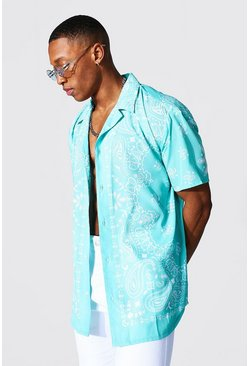 Short Sleeve Revere Oversized Bandana Shirt, Green gerde