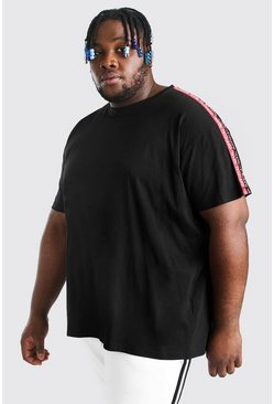 Black Plus Size MAN Official Tape T-Shirt