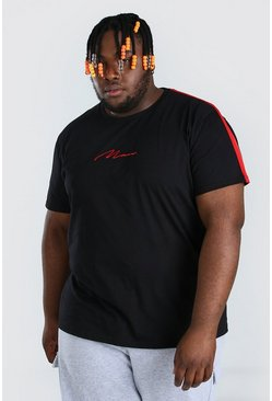 Plus Size MAN Script Tape T-Shirt, Black negro
