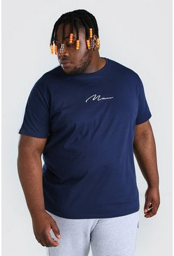 Navy Plus Size MAN Script Tape T-Shirt