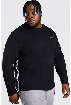 Black Plus Size MAN Side Tape Long Sleeve T-Shirt