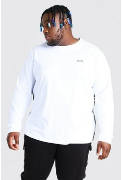 White Plus Size MAN Side Tape Long Sleeve T-Shirt