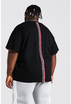 Black Plus Size Loose Fit MAN Back Tape T-Shirt