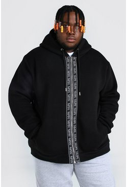 Black Plus Size MAN Dash Zip Through Tape Hoodie