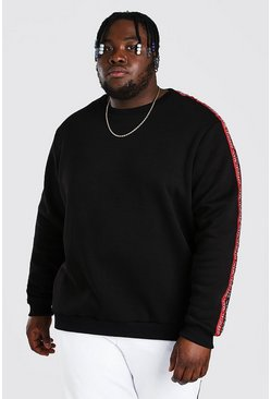 Black Plus Size Man Official Sweater Met Dubbele Streep Met Tekst