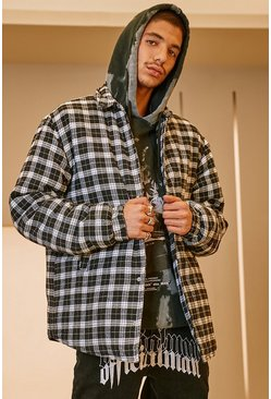 Black Quilted Check Overshirt