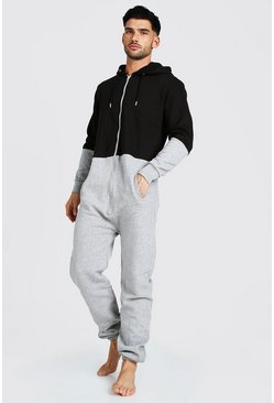 Grey Colour Block Hooded Onesie