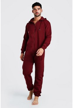 Burgundy red Hooded Onesie