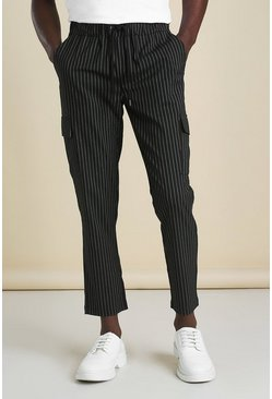 Black Skinny Stripe Cargo Smart Cropped Jogger Trouser