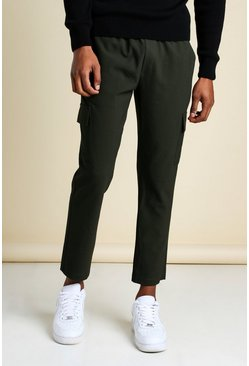 Khaki Skinny Plain Cargo Smart Cropped Jogger Trouser