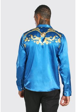 Long Sleeve Regular Collar Satin Back Panel Shirt, Blue Синий