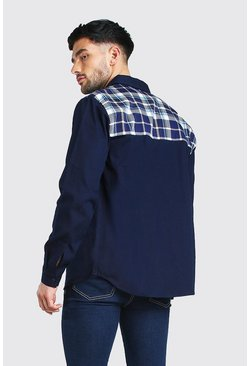 Navy Long Sleeve Twill Shirt Jacket With Check Back Panel